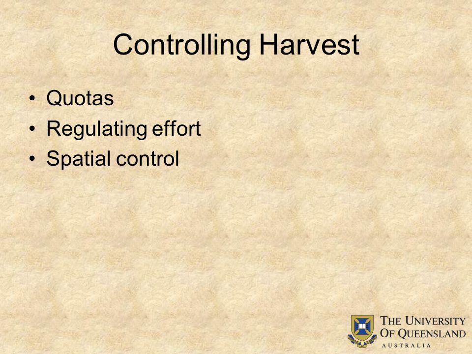 Controlling Harvest Quotas Regulating effort Spatial control