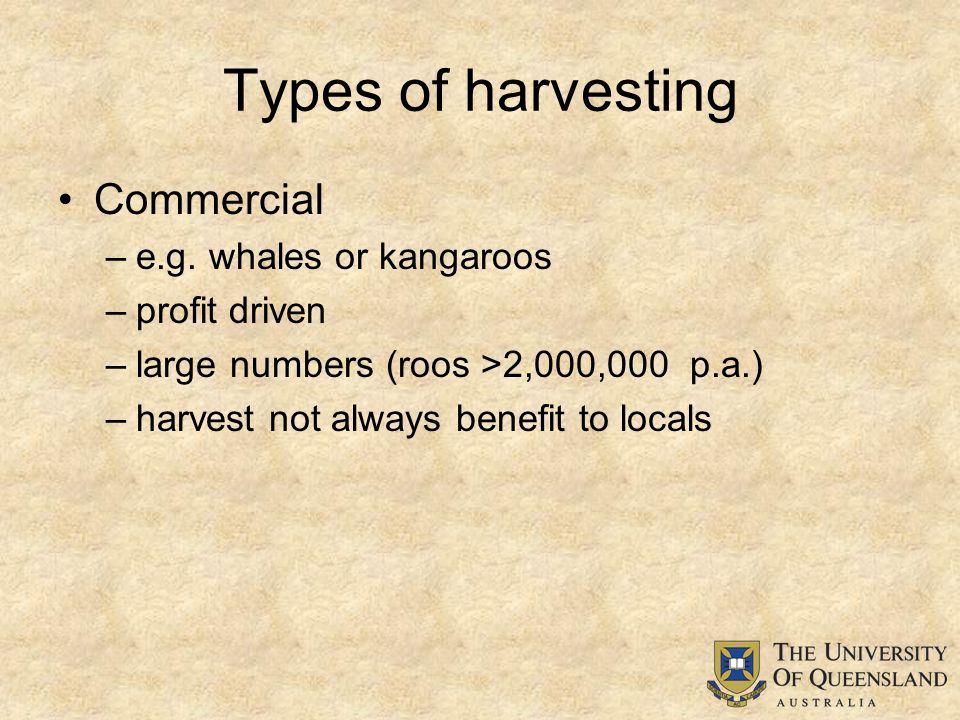 Types of harvesting Commercial –e.g.