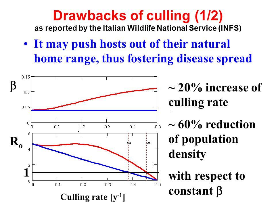  Culling rate [y -1 ] Drawbacks of culling (1/2) as reported by the Italian Wildlife National Service (INFS) It may push hosts out of their natural h