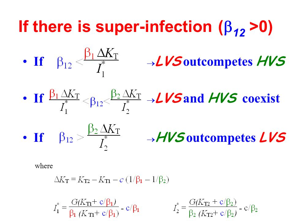 If there is super-infection (  12 >0) If  LVS outcompetes HVS If  HVS outcompetes LVS If  LVS and HVS coexist where