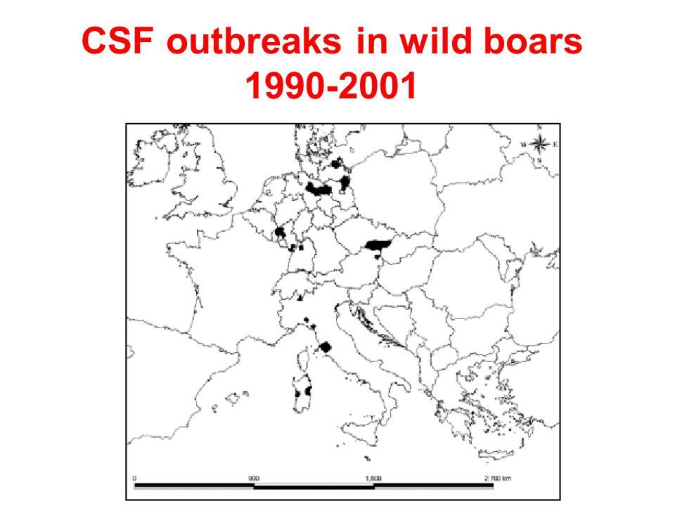 CSF outbreaks in wild boars 1990-2001