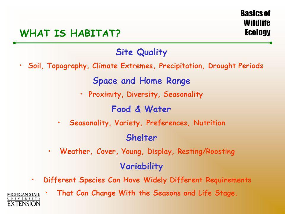 Basics of Wildlife Ecology WHAT IS HABITAT.