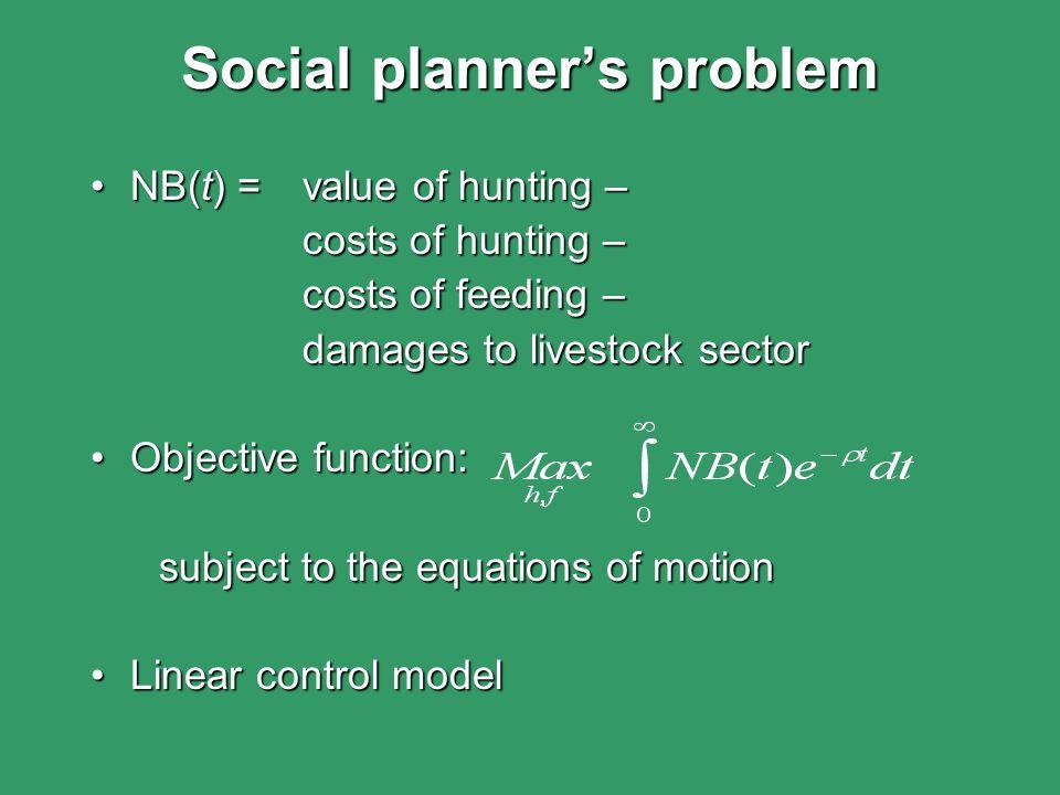 Social planner's problem NB(t) = value of hunting –NB(t) = value of hunting – costs of hunting – costs of feeding – damages to livestock sector damage