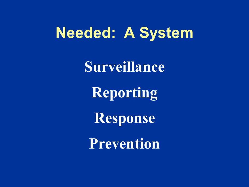 Needed: A System Surveillance Reporting Response Prevention