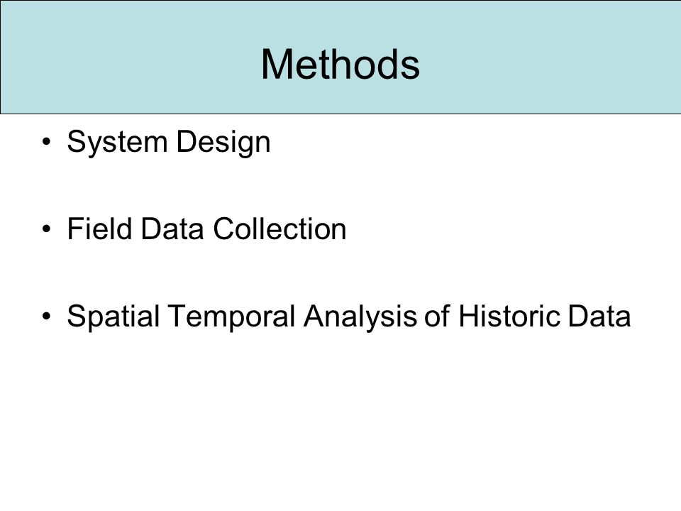 Methods System Design Field Data Collection Spatial Temporal Analysis of Historic Data