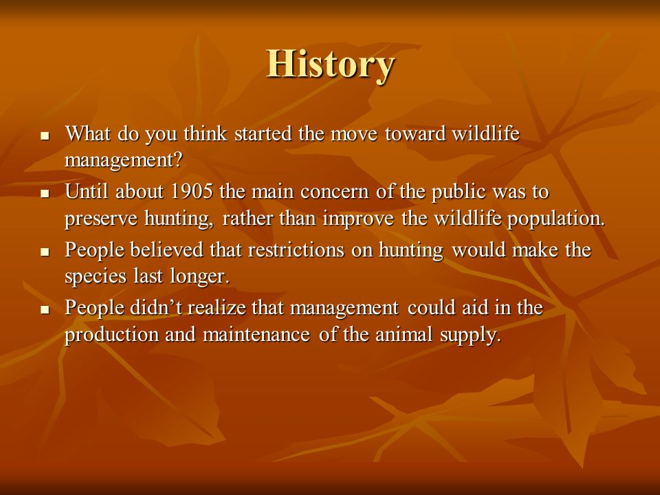 History What do you think started the move toward wildlife management? What do you think started the move toward wildlife management? Until about 1905