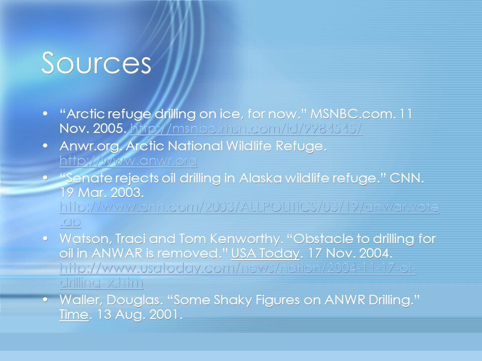 Sources Arctic refuge drilling on ice, for now. MSNBC.com.