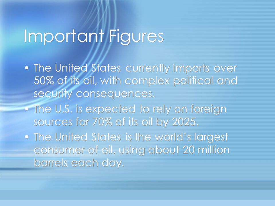 Important Figures The United States currently imports over 50% of its oil, with complex political and security consequences. The U.S. is expected to r