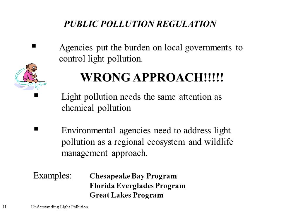  Agencies put the burden on local governments to control light pollution.