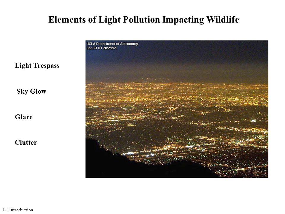 Elements of Light Pollution Impacting Wildlife Light Trespass Sky Glow Glare Clutter I.
