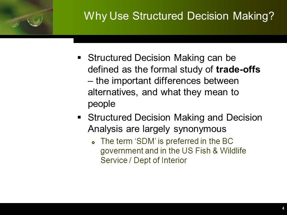 4 4 4 4 4 4 4 4 4 Why Use Structured Decision Making.