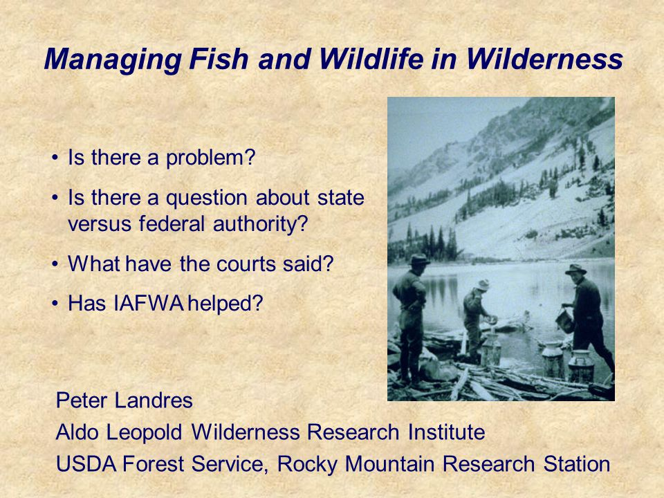 Managing Fish and Wildlife in Wilderness Peter Landres Aldo Leopold Wilderness Research Institute USDA Forest Service, Rocky Mountain Research Station Is there a problem.
