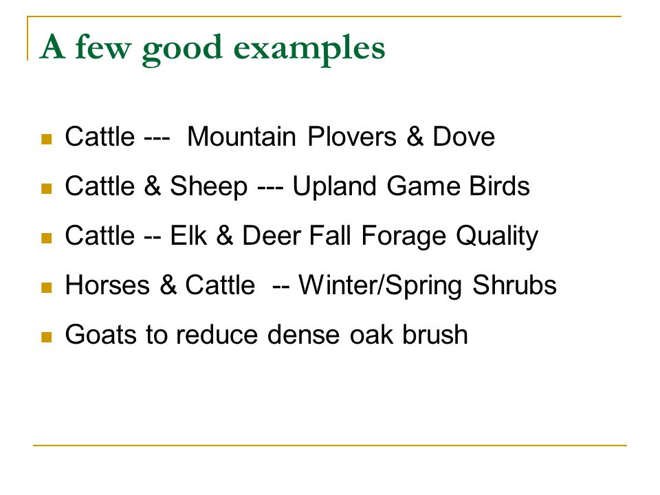 A few good examples Cattle --- Mountain Plovers & Dove Cattle & Sheep --- Upland Game Birds Cattle -- Elk & Deer Fall Forage Quality Horses & Cattle -