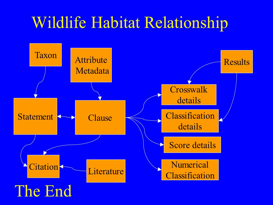 Wildlife Habitat Relationship Statement Clause Crosswalk details Classification details Score details Numerical Classification Citation Literature Tax
