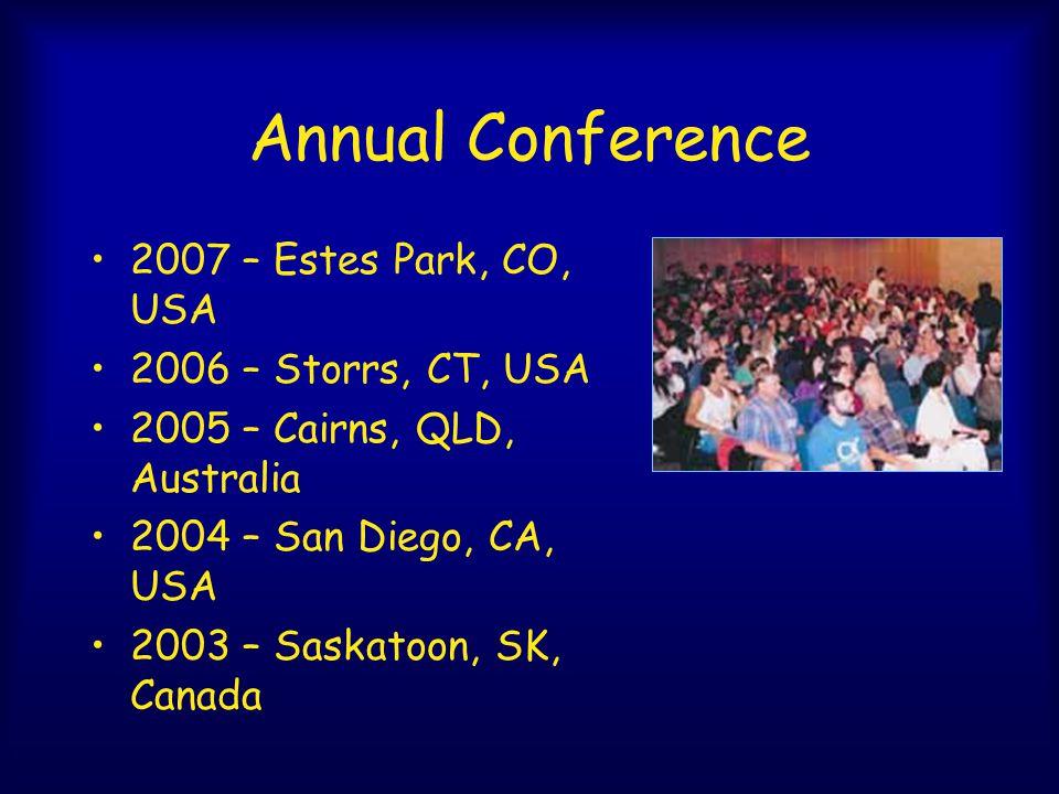 Annual Conference 2007 – Estes Park, CO, USA 2006 – Storrs, CT, USA 2005 – Cairns, QLD, Australia 2004 – San Diego, CA, USA 2003 – Saskatoon, SK, Canada