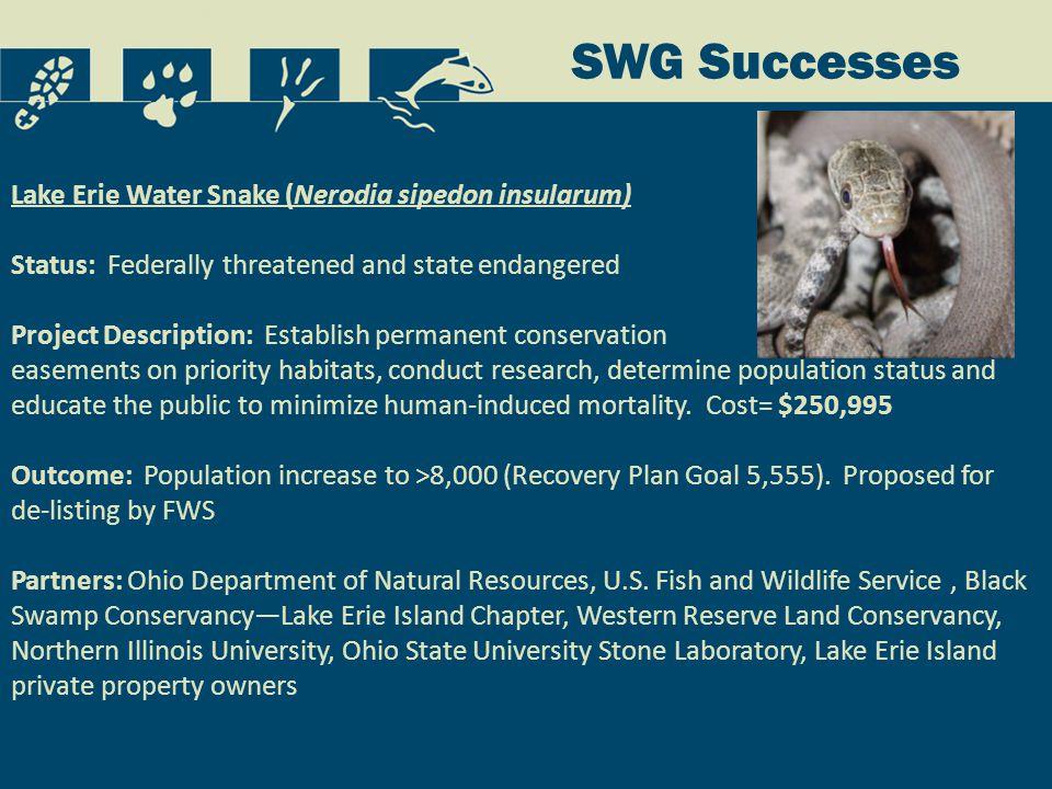 Species Restoration Species initially restored to site (short-term) Species breeding at sites : o )