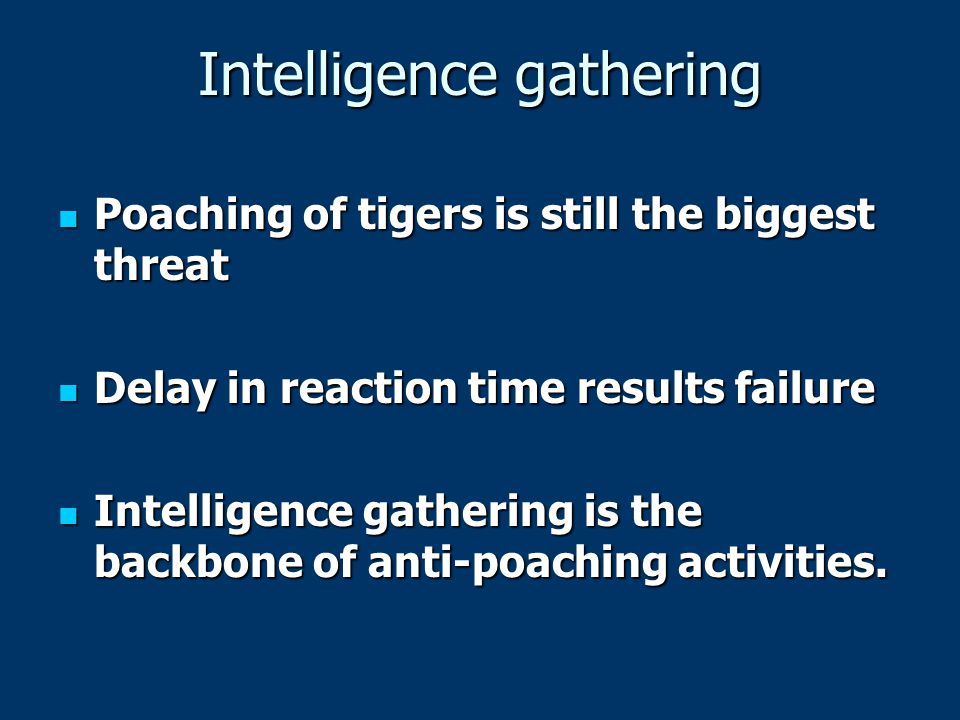 Intelligence gathering Poaching of tigers is still the biggest threat Poaching of tigers is still the biggest threat Delay in reaction time results failure Delay in reaction time results failure Intelligence gathering is the backbone of anti-poaching activities.