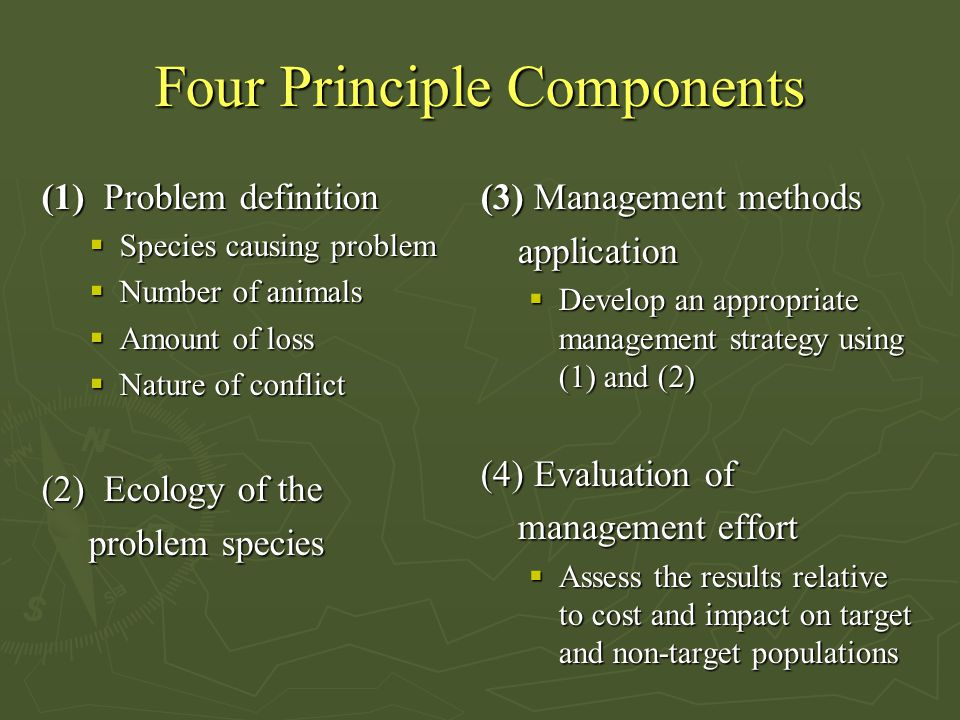 Four Principle Components (1) Problem definition  Species causing problem  Number of animals  Amount of loss  Nature of conflict (2) Ecology of th