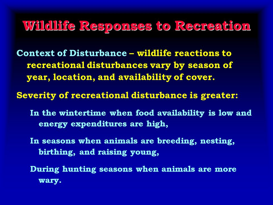 Wildlife Responses to Recreation Context of Disturbance – wildlife reactions to recreational disturbances vary by season of year, location, and availability of cover.