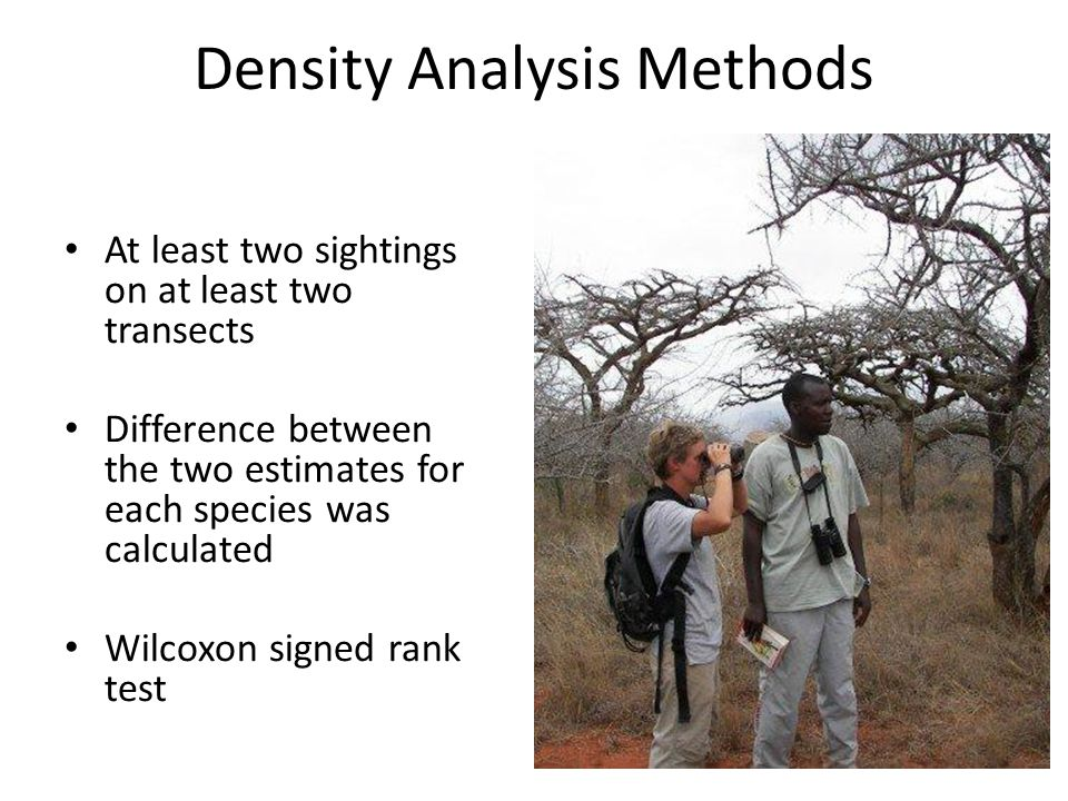 Density Analysis Methods At least two sightings on at least two transects Difference between the two estimates for each species was calculated Wilcoxon signed rank test