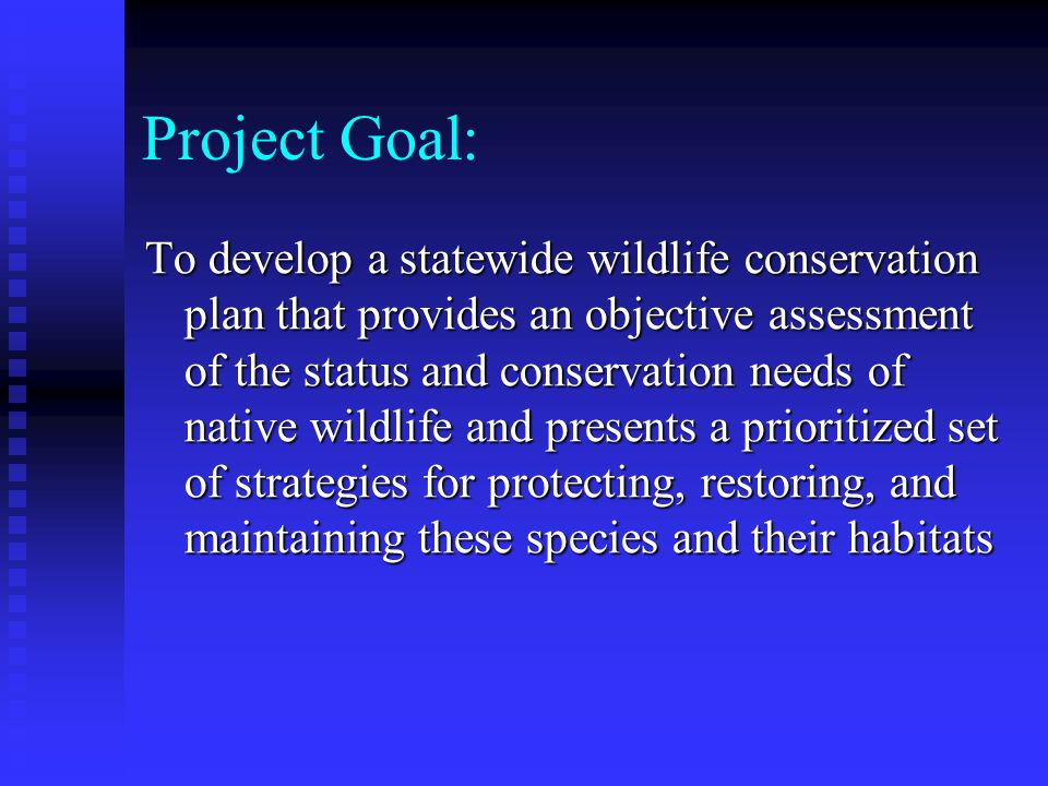 Comprehensive Wildlife Conservation Strategy (CWCS) Georgia DNR has committed to develop and begin implementation by October 1, 2005 Georgia DNR has committed to develop and begin implementation by October 1, 2005 Current project will produce draft strategy by December 2004 Current project will produce draft strategy by December 2004 Funded under FY2002 State Wildlife Grant to Wildlife Resources Division Funded under FY2002 State Wildlife Grant to Wildlife Resources Division Involves collaboration with all natural resource agencies and organizations operating in Georgia Involves collaboration with all natural resource agencies and organizations operating in Georgia