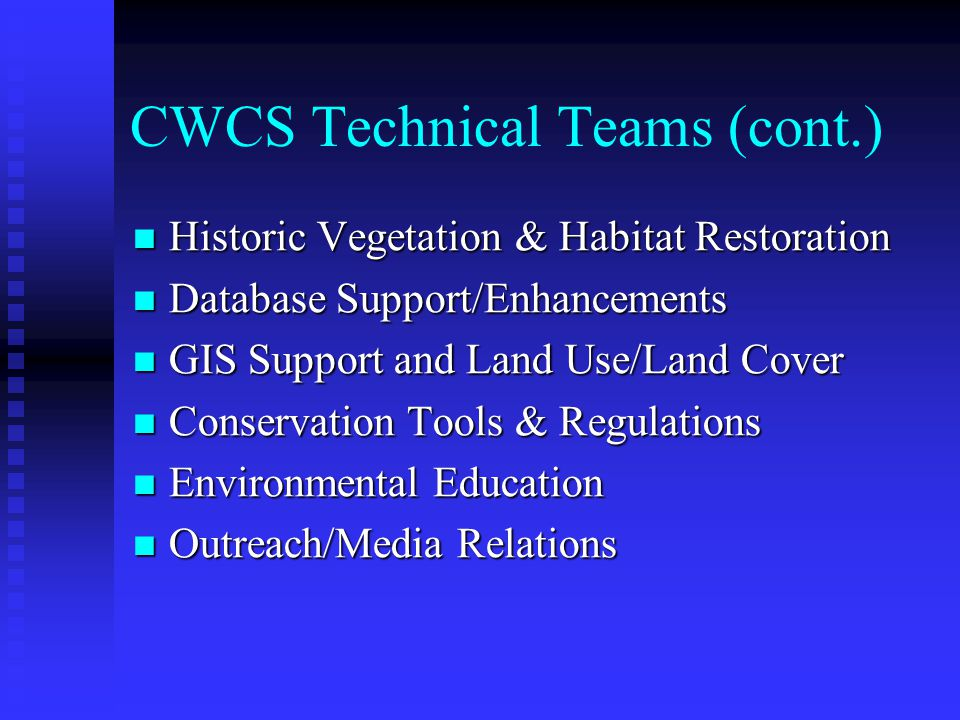 CWCS Technical Teams Birds Birds Mammals Mammals Amphibians and Reptiles Amphibians and Reptiles Fishes and Freshwater Invertebrates Fishes and Freshwater Invertebrates Terrestrial Invertebrates Terrestrial Invertebrates Plants and Natural Communities Plants and Natural Communities Ecological Systems Ecological Systems