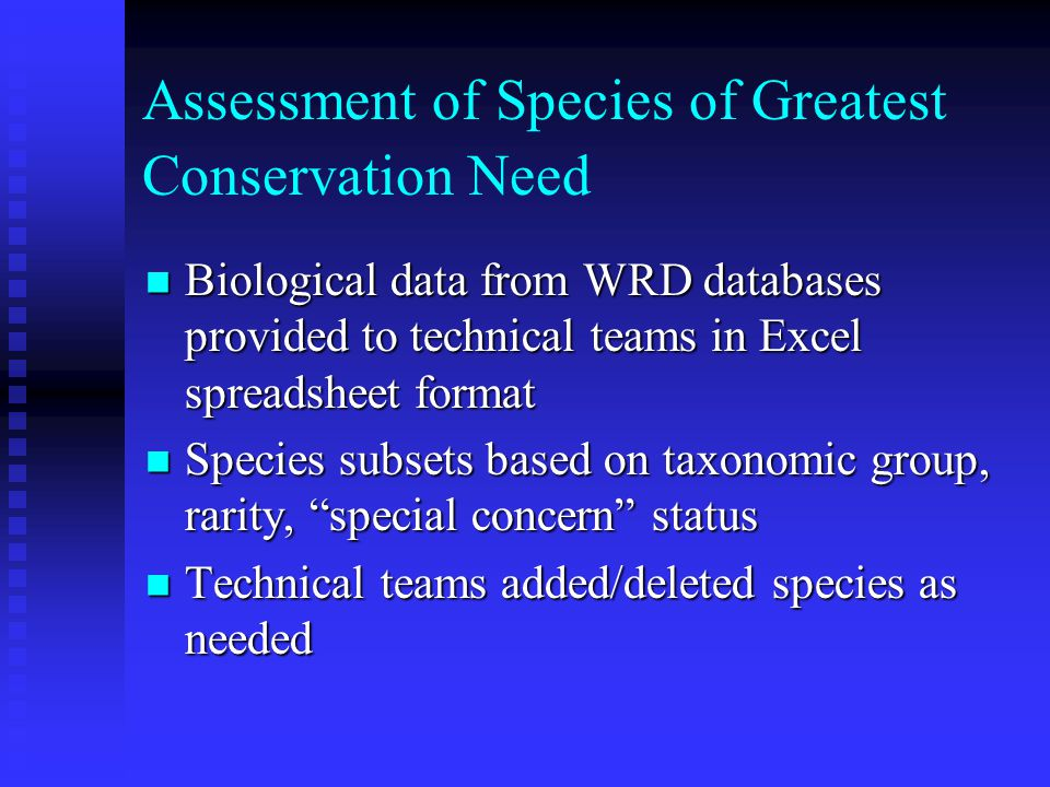 CWCS as a Complement to Other Conservation Planning Efforts Management plans for private lands Management plans for private lands  Forestry lands  Private nature preserves  Land trust holdings Habitat Conservation Plans for federally listed species Habitat Conservation Plans for federally listed species Local/regional land use plans Local/regional land use plans