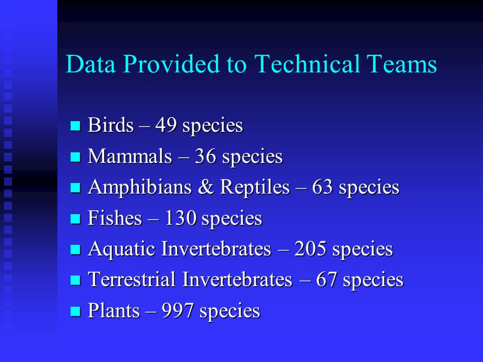 Assessment of Species of Greatest Conservation Need Biological data from WRD databases provided to technical teams in Excel spreadsheet format Biologi