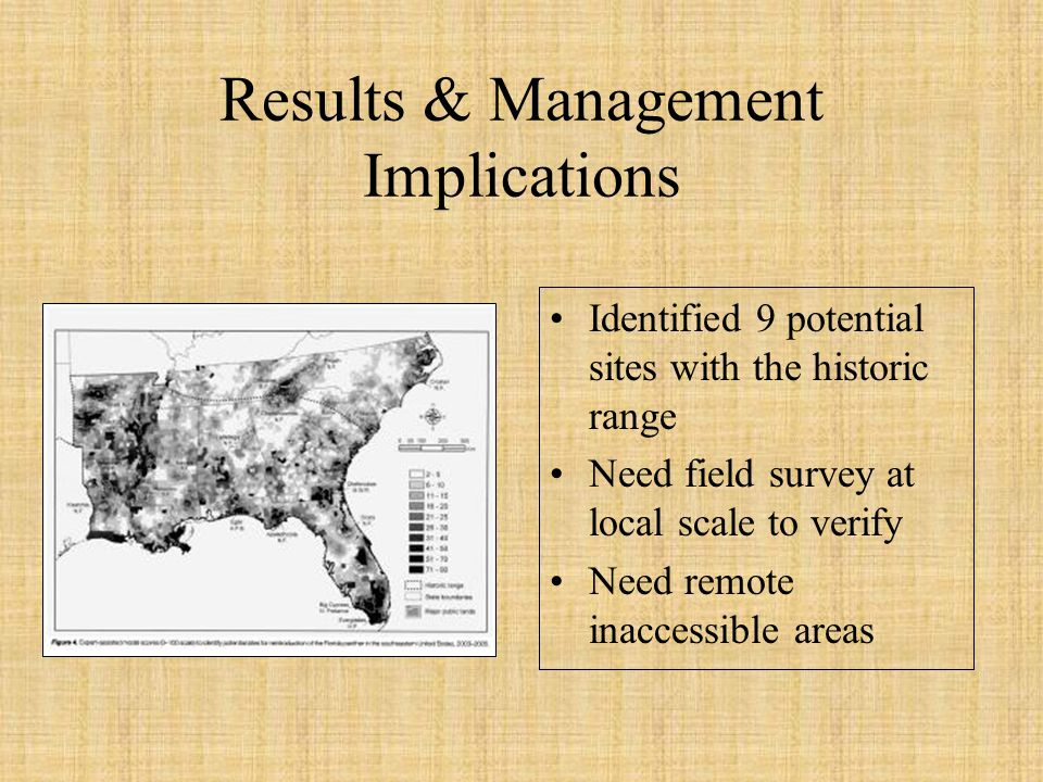 Results & Management Implications Identified 9 potential sites with the historic range Need field survey at local scale to verify Need remote inaccess