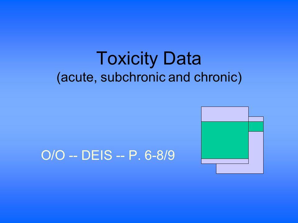 Toxicity Data (acute, subchronic and chronic) O/O -- DEIS -- P. 6-8/9