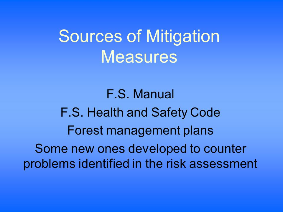 Sources of Mitigation Measures F.S. Manual F.S.