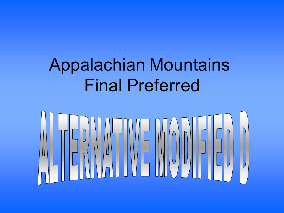 Appalachian Mountains Final Preferred