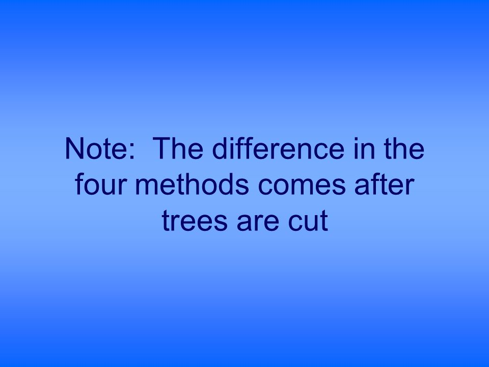 Note: The difference in the four methods comes after trees are cut