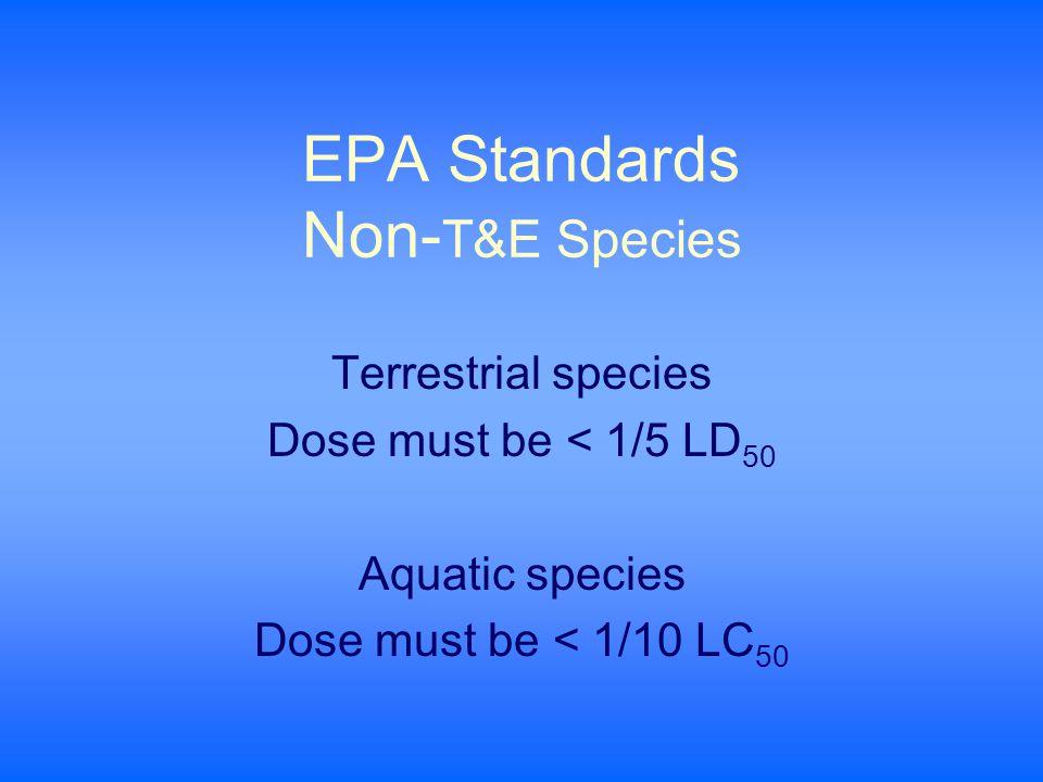 EPA Standards Non- T&E Species Terrestrial species Dose must be < 1/5 LD 50 Aquatic species Dose must be < 1/10 LC 50