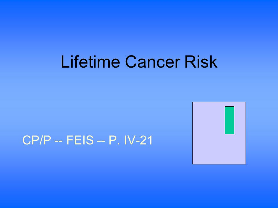 Lifetime Cancer Risk CP/P -- FEIS -- P. IV-21