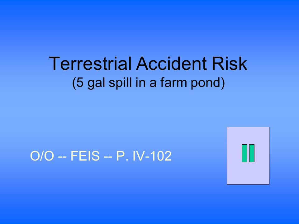 Terrestrial Accident Risk (5 gal spill in a farm pond) O/O -- FEIS -- P. IV-102