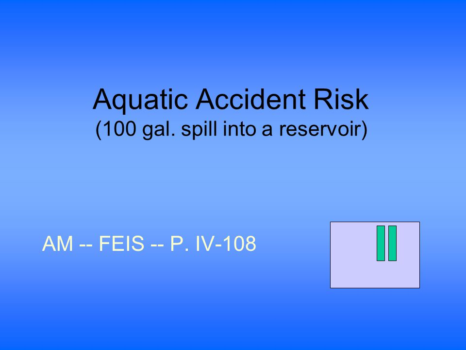 Aquatic Accident Risk (100 gal. spill into a reservoir) AM -- FEIS -- P. IV-108