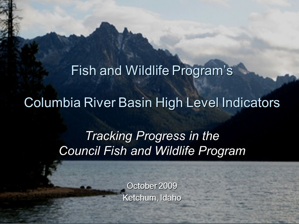 Today's Tasks  Link FW Program, Management Questions, High Level Indicators, and FW Program indicators  Characteristics for successful Columbia River Basin High Level Indicators  The recommended Columbia River Basin High Level Indicators  Role of Council FW Program Management Questions  Role of FW Program Indicators  Next Steps HLIs
