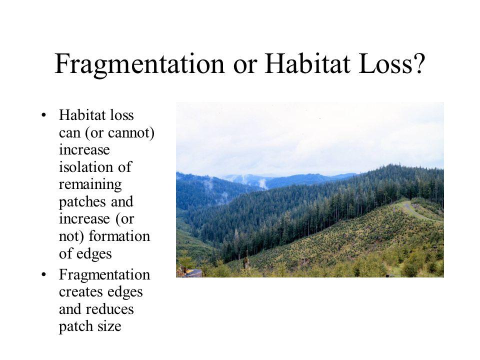 Fragmentation or Habitat Loss.