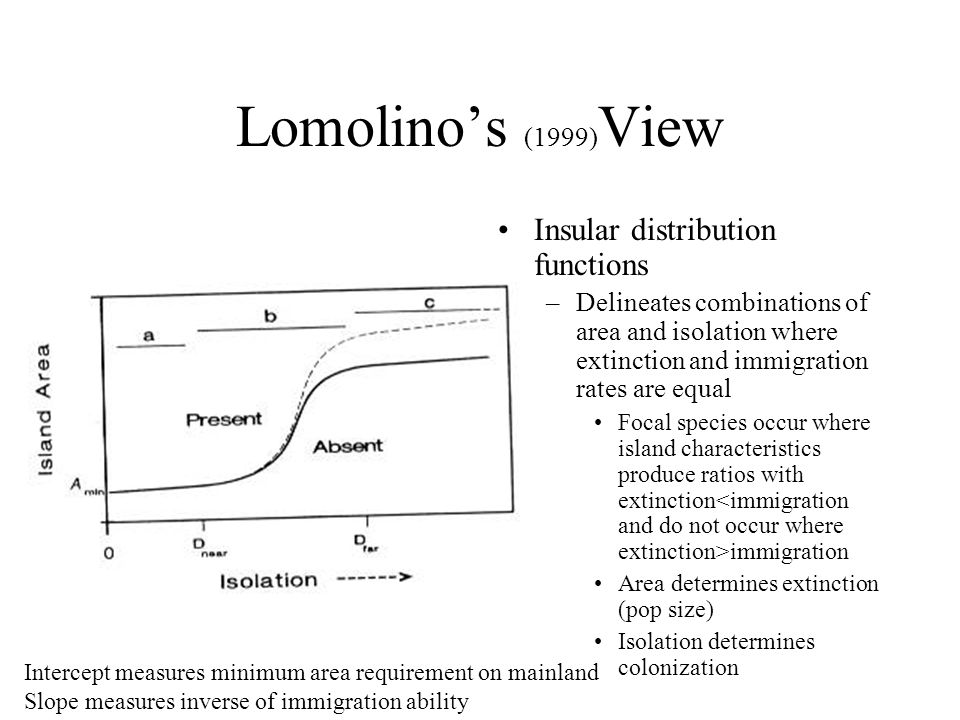 Lomolino's (1999) View Insular distribution functions –Delineates combinations of area and isolation where extinction and immigration rates are equal Focal species occur where island characteristics produce ratios with extinction immigration Area determines extinction (pop size) Isolation determines colonization Intercept measures minimum area requirement on mainland Slope measures inverse of immigration ability