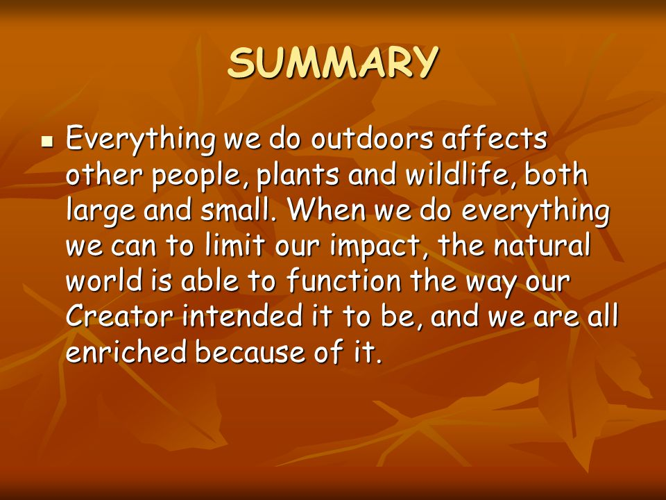 SUMMARY Everything we do outdoors affects other people, plants and wildlife, both large and small.