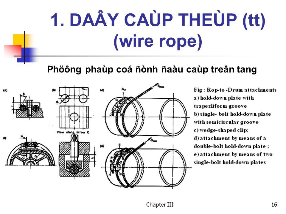 Chapter III16 Phöông phaùp coá ñònh ñaàu caùp treân tang 1. DAÂY CAÙP THEÙP (tt) (wire rope)