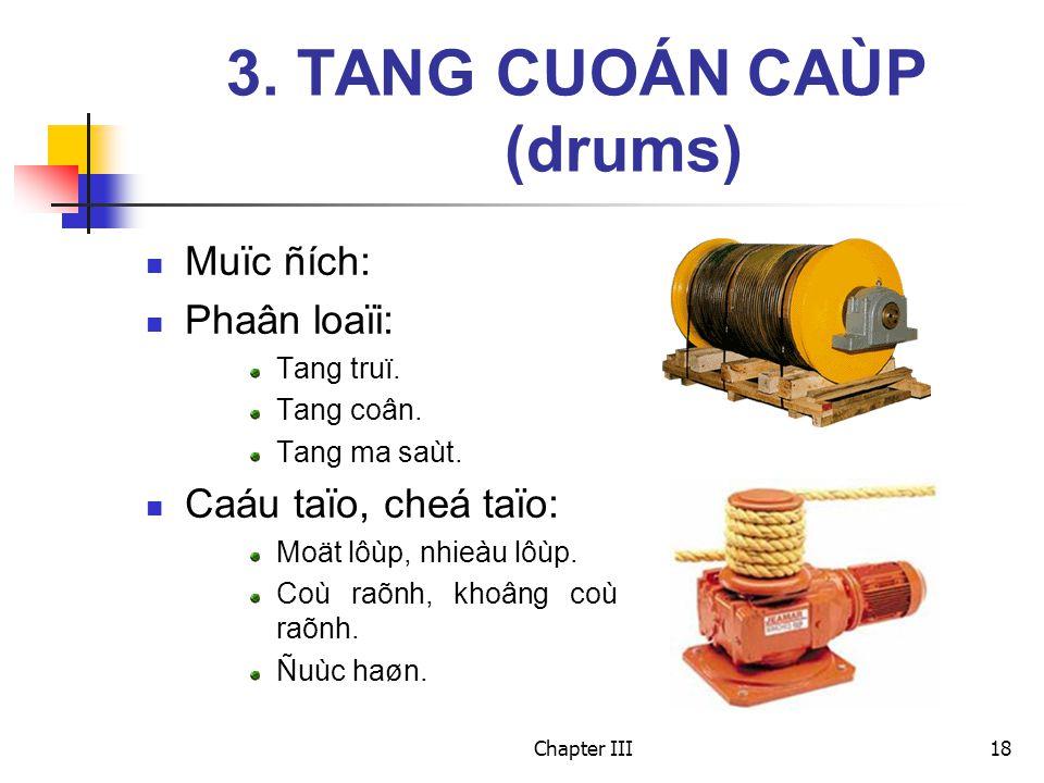 Chapter III18 3. TANG CUOÁN CAÙP (drums) Muïc ñích: Phaân loaïi: Tang truï. Tang coân. Tang ma saùt. Caáu taïo, cheá taïo: Moät lôùp, nhieàu lôùp. Coù