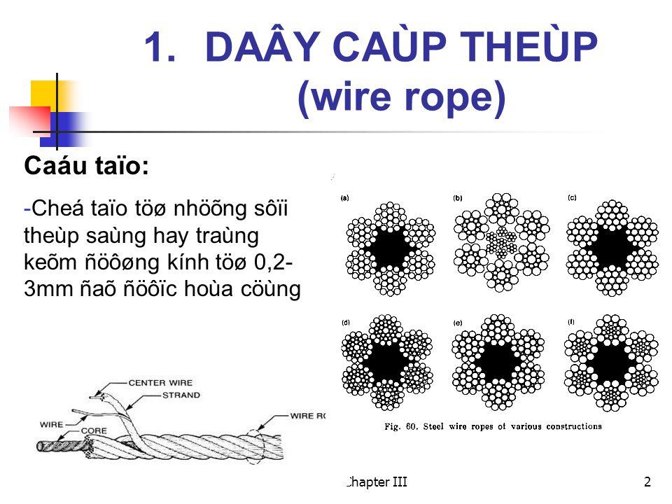 Chapter III2 1.DAÂY CAÙP THEÙP (wire rope) Caáu taïo: -Cheá taïo töø nhöõng sôïi theùp saùng hay traùng keõm ñöôøng kính töø 0,2- 3mm ñaõ ñöôïc hoùa cöùng