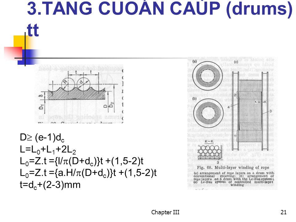Chapter III21 3.TANG CUOÁN CAÙP (drums) tt D  (e-1)d c L=L 0 +L 1 +2L 2 L 0 =Z.t ={l/  (D+d c )}t +(1,5-2)t L 0 =Z.t ={a.H/  (D+d c )}t +(1,5-2)t t=d c +(2-3)mm