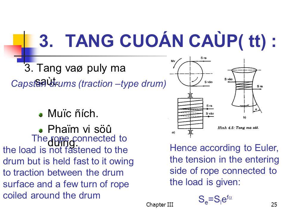Chapter III25 3. TANG CUOÁN CAÙP( tt) : 3. Tang vaø puly ma saùt. Muïc ñích. Phaïm vi söû duïng. Capstan drums (traction –type drum) The rope connecte