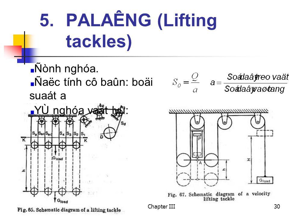 Chapter III30 5. PALAÊNG (Lifting tackles) Ñònh nghóa.