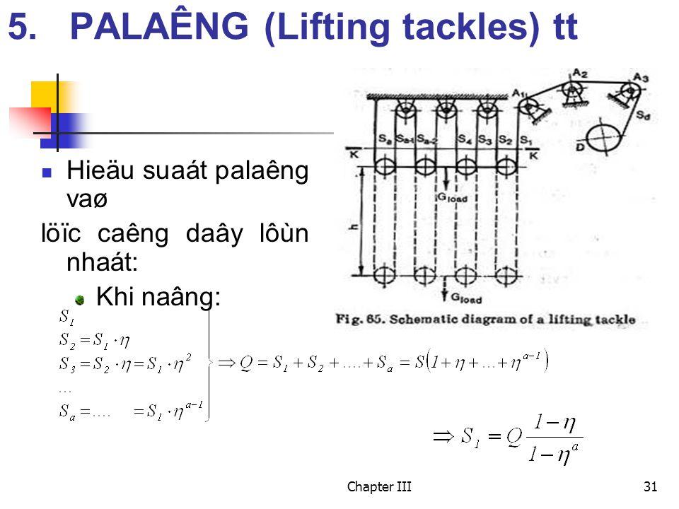 Chapter III31 Hieäu suaát palaêng vaø löïc caêng daây lôùn nhaát: Khi naâng: 5.PALAÊNG (Lifting tackles) tt