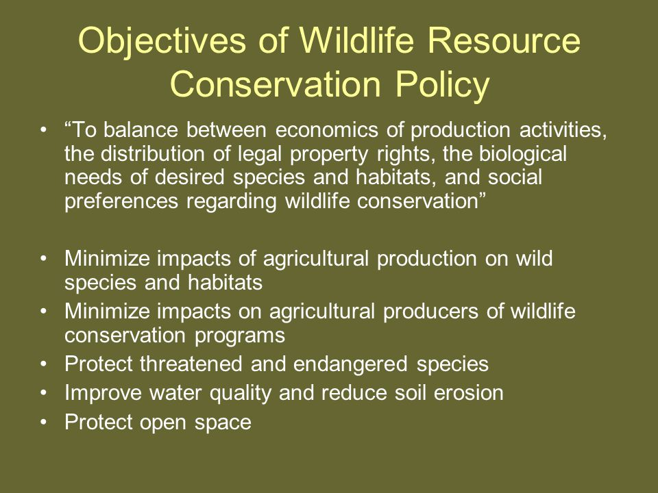 Objectives of Wildlife Resource Conservation Policy To balance between economics of production activities, the distribution of legal property rights, the biological needs of desired species and habitats, and social preferences regarding wildlife conservation Minimize impacts of agricultural production on wild species and habitats Minimize impacts on agricultural producers of wildlife conservation programs Protect threatened and endangered species Improve water quality and reduce soil erosion Protect open space