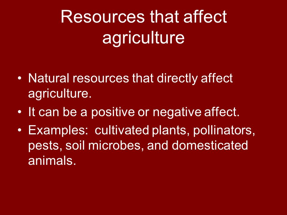 Resources that affect agriculture Natural resources that directly affect agriculture.